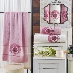Подарочный набор полотенец для ванной 50х90(2), 70х140(1) Merzuka ART хлопковая махра светло-розовый