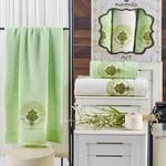 Подарочный набор полотенец для ванной 50х90(2), 70х140(1) Merzuka ART хлопковая махра фисташковый, фото, фотография