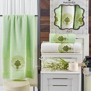 Подарочный набор полотенец для ванной 50х90(2), 70х140(1) Merzuka ART хлопковая махра фисташковый