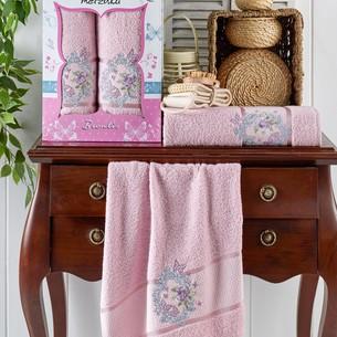 Подарочный набор полотенец для ванной 50х90, 70х140 Merzuka BRENTIS хлопковая махра светло-розовый
