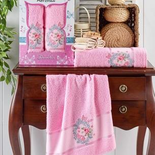 Подарочный набор полотенец для ванной 50х90, 70х140 Merzuka BRENTIS хлопковая махра розовый