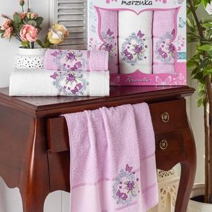 Подарочный набор полотенец для ванной 50х90(2), 70х140(1) Merzuka BRENTIS хлопковая махра сиреневый