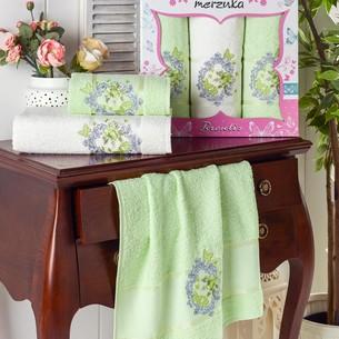 Подарочный набор полотенец для ванной 50х90(2), 70х140(1) Merzuka BRENTIS хлопковая махра фисташковый