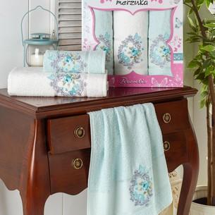 Подарочный набор полотенец для ванной 50х90(2), 70х140(1) Merzuka BRENTIS хлопковая махра мятный