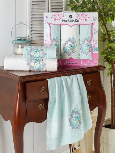 Подарочный набор полотенец для ванной 50х90(2), 70х140(1) Merzuka BRENTIS хлопковая махра мятный, фото, фотография