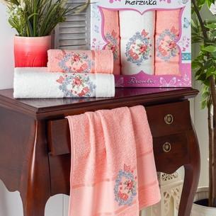 Подарочный набор полотенец для ванной 50х90(2), 70х140(1) Merzuka BRENTIS хлопковая махра оранжевый