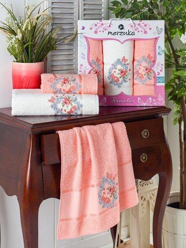 Подарочный набор полотенец для ванной 50х90(2), 70х140(1) Merzuka BRENTIS хлопковая махра оранжевый, фото, фотография