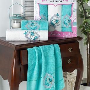 Подарочный набор полотенец для ванной 50х90(2), 70х140(1) Merzuka BRENTIS хлопковая махра бирюзовый