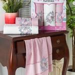 Подарочный набор полотенец для ванной 50х90(2), 70х140(1) Merzuka BRENTIS хлопковая махра светло-розовый, фото, фотография