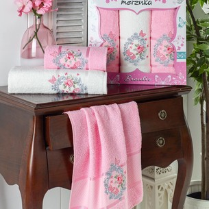Подарочный набор полотенец для ванной 50х90(2), 70х140(1) Merzuka BRENTIS хлопковая махра розовый