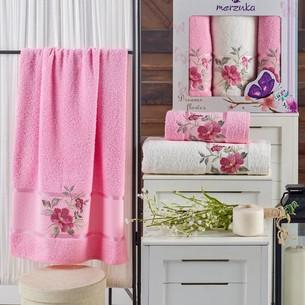 Подарочный набор полотенец для ванной 50х90(2), 70х140(1) Merzuka DREAMS FLOWER хлопковая махра розовый
