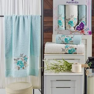 Подарочный набор полотенец для ванной 50х90(2), 70х140(1) Merzuka DREAMS FLOWER хлопковая махра мятный
