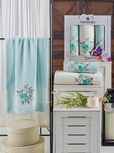 Подарочный набор полотенец для ванной 50х90(2), 70х140(1) Merzuka DREAMS FLOWER хлопковая махра мятный, фото, фотография
