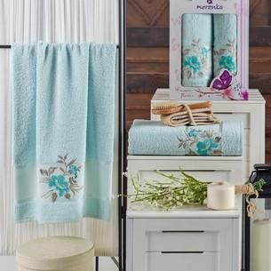 Подарочный набор полотенец для ванной 50х90, 70х140 Merzuka DREAMS FLOWER хлопковая махра мятный