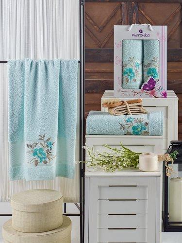 Подарочный набор полотенец для ванной 50х90, 70х140 Merzuka DREAMS FLOWER хлопковая махра мятный, фото, фотография