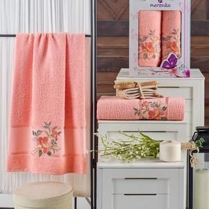 Подарочный набор полотенец для ванной 50х90, 70х140 Merzuka DREAMS FLOWER хлопковая махра оранжевый