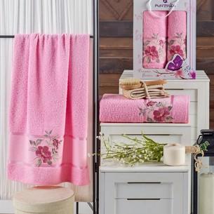 Подарочный набор полотенец для ванной 50х90, 70х140 Merzuka DREAMS FLOWER хлопковая махра розовый
