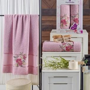Подарочный набор полотенец для ванной 50х90, 70х140 Merzuka DREAMS FLOWER хлопковая махра светло-розовый