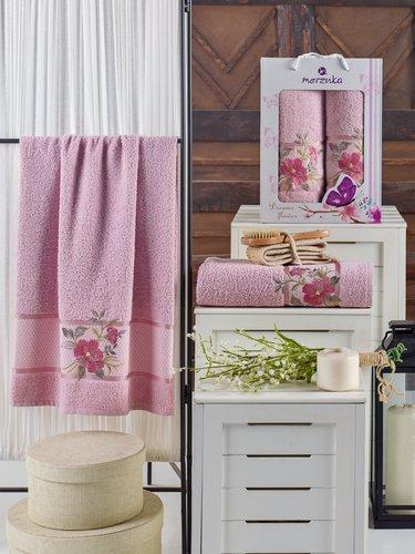 Подарочный набор полотенец для ванной 50х90, 70х140 Merzuka DREAMS FLOWER хлопковая махра светло-розовый, фото, фотография