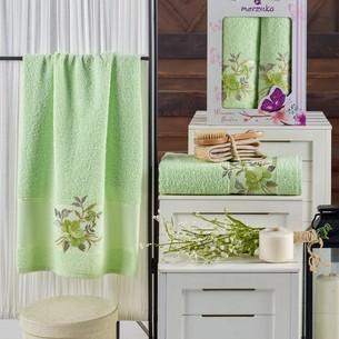 Подарочный набор полотенец для ванной 50х90, 70х140 Merzuka DREAMS FLOWER хлопковая махра фисташковый