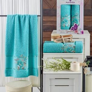 Подарочный набор полотенец для ванной 50х90, 70х140 Merzuka DREAMS FLOWER хлопковая махра бирюзовый