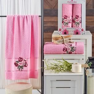 Подарочный набор полотенец для ванной 50х90, 70х140 Merzuka EMOTION хлопковая махра розовый