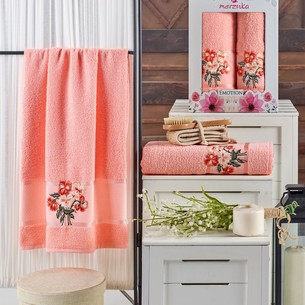 Подарочный набор полотенец для ванной 50х90, 70х140 Merzuka EMOTION хлопковая махра оранжевый