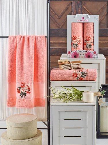 Подарочный набор полотенец для ванной 50х90, 70х140 Merzuka EMOTION хлопковая махра оранжевый, фото, фотография