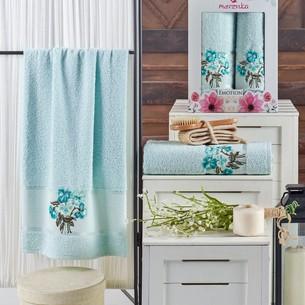 Подарочный набор полотенец для ванной 50х90, 70х140 Merzuka EMOTION хлопковая махра мятный