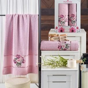 Подарочный набор полотенец для ванной 50х90, 70х140 Merzuka EMOTION хлопковая махра светло-розовый