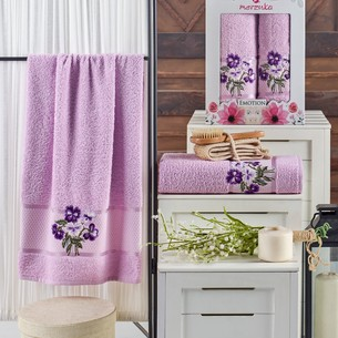 Подарочный набор полотенец для ванной 50х90, 70х140 Merzuka EMOTION хлопковая махра сиреневый