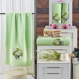 Подарочный набор полотенец для ванной 50х90, 70х140 Merzuka EMOTION хлопковая махра фисташковый