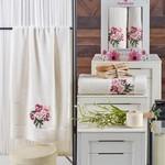 Подарочный набор полотенец для ванной 50х90, 70х140 Merzuka EMOTION хлопковая махра кремовый, фото, фотография