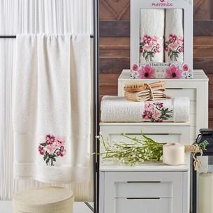Подарочный набор полотенец для ванной 50х90, 70х140 Merzuka EMOTION хлопковая махра кремовый