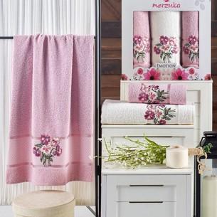 Подарочный набор полотенец для ванной 50х90(2), 70х140(1) Merzuka EMOTION хлопковая махра светло-розовый