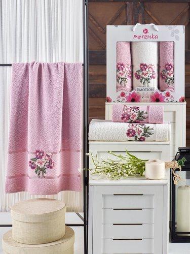 Подарочный набор полотенец для ванной 50х90(2), 70х140(1) Merzuka EMOTION хлопковая махра светло-розовый, фото, фотография
