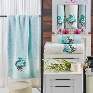 Подарочный набор полотенец для ванной 50х90(2), 70х140(1) Merzuka EMOTION хлопковая махра мятный
