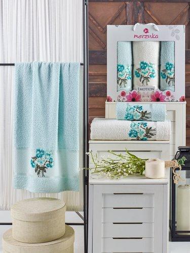 Подарочный набор полотенец для ванной 50х90(2), 70х140(1) Merzuka EMOTION хлопковая махра мятный, фото, фотография