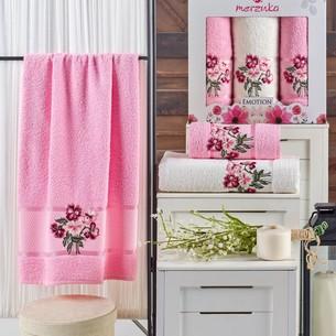 Подарочный набор полотенец для ванной 50х90(2), 70х140(1) Merzuka EMOTION хлопковая махра розовый