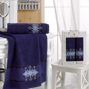 Подарочный набор полотенец для ванной 50х90, 70х140 Merzuka OTANTIC хлопковая махра синий