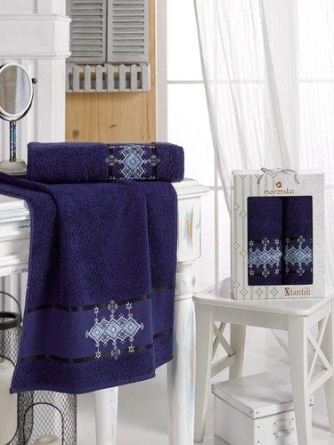 Подарочный набор полотенец для ванной 50х90, 70х140 Merzuka OTANTIC хлопковая махра синий, фото, фотография
