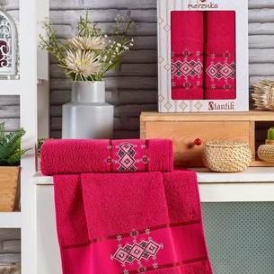 Подарочный набор полотенец для ванной 50х90, 70х140 Merzuka OTANTIC хлопковая махра бордовый
