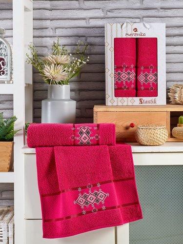 Подарочный набор полотенец для ванной 50х90, 70х140 Merzuka OTANTIC хлопковая махра бордовый, фото, фотография