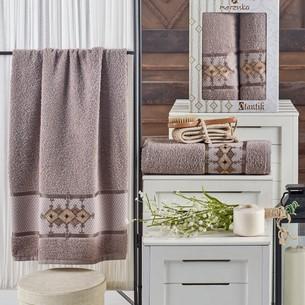 Подарочный набор полотенец для ванной 50х90, 70х140 Merzuka OTANTIC хлопковая махра коричневый