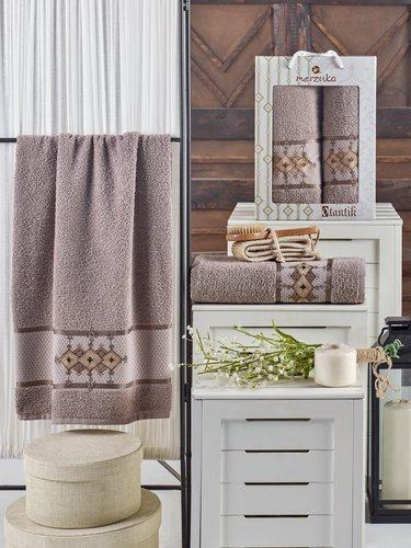 Подарочный набор полотенец для ванной 50х90, 70х140 Merzuka OTANTIC хлопковая махра коричневый, фото, фотография
