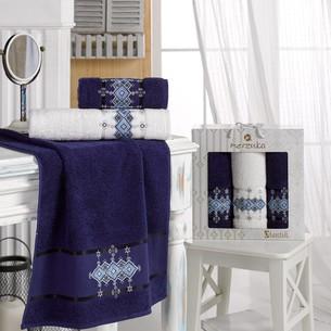Подарочный набор полотенец для ванной 50х90(2), 70х140(1) Merzuka OTANTIC хлопковая махра синий