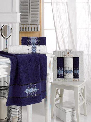 Подарочный набор полотенец для ванной 50х90(2), 70х140(1) Merzuka OTANTIC хлопковая махра синий, фото, фотография