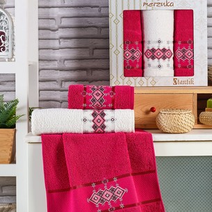 Подарочный набор полотенец для ванной 50х90(2), 70х140(1) Merzuka OTANTIC хлопковая махра бордовый