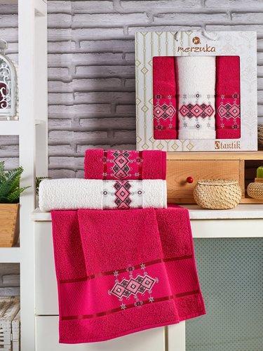 Подарочный набор полотенец для ванной 50х90(2), 70х140(1) Merzuka OTANTIC хлопковая махра бордовый, фото, фотография