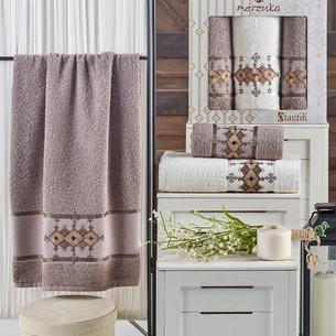 Подарочный набор полотенец для ванной 50х90(2), 70х140(1) Merzuka OTANTIC хлопковая махра коричневый